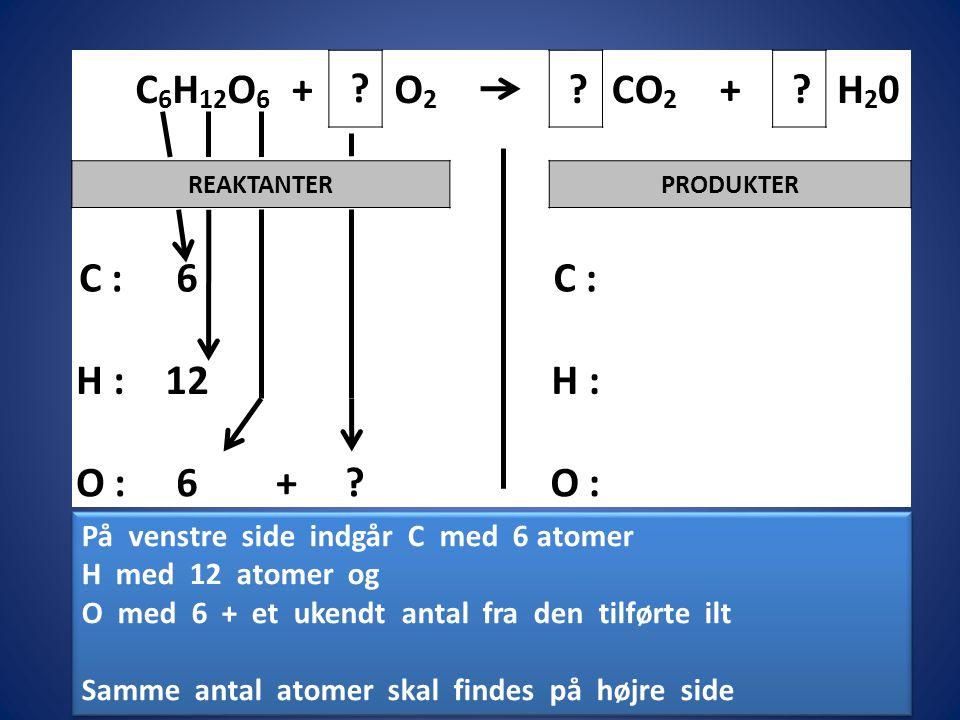 C6H12O6 + O2. CO2. H20. REAKTANTER. PRODUKTER. C : 6. H : 12. O : På venstre side indgår C med 6 atomer.