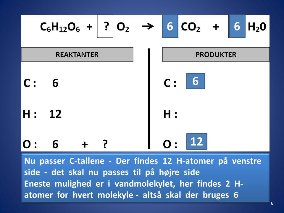 C6H12O6 + O2. CO2. H20. REAKTANTER. PRODUKTER. C : 6. H : 12. O : 6. 6. 6. 12.