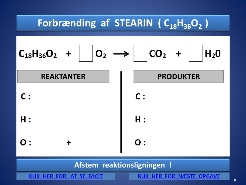Forbrænding af STEARIN ( C18H36O2 ) C18H36O2 + O2 CO2 H20