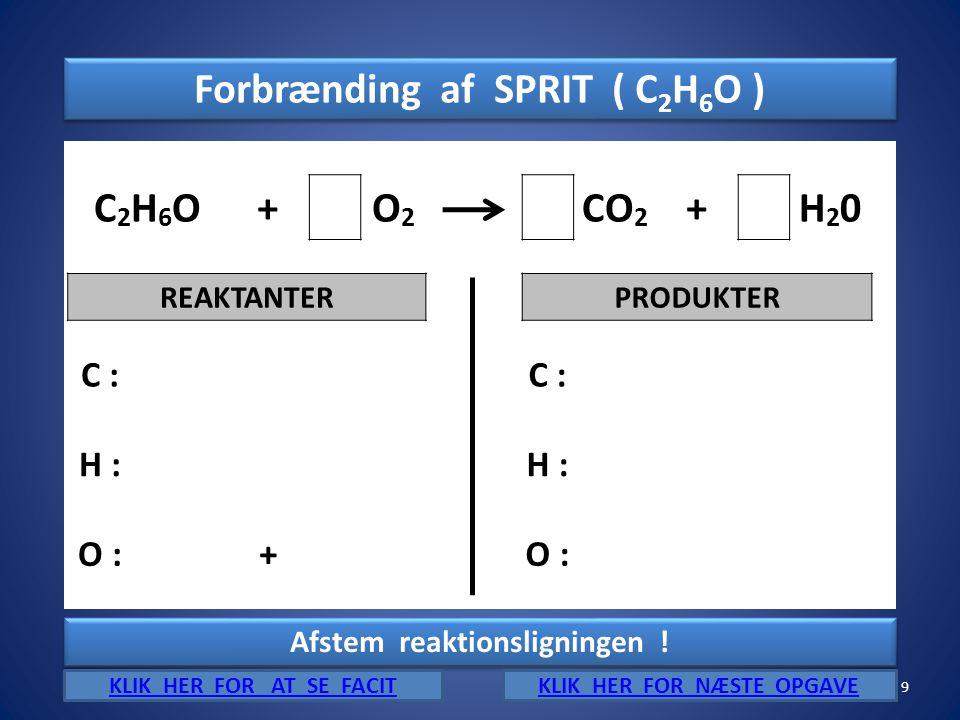 Forbrænding af SPRIT ( C2H6O ) C2H6O + O2 CO2 H20