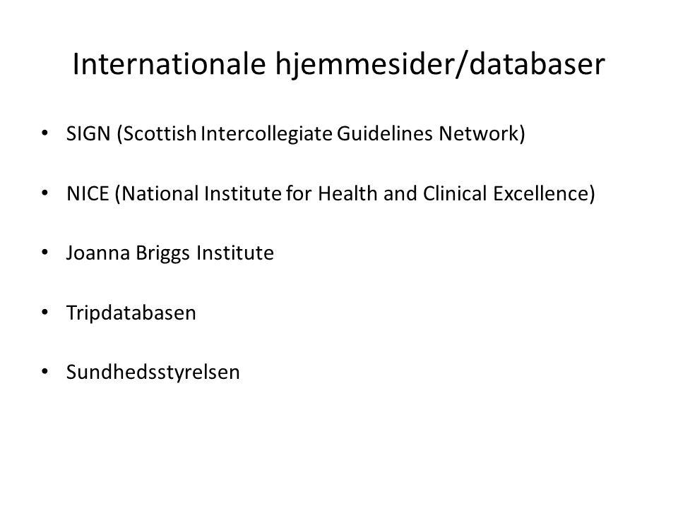 Internationale hjemmesider/databaser