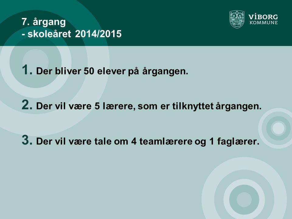 7. årgang - skoleåret 2014/2015 Der bliver 50 elever på årgangen.
