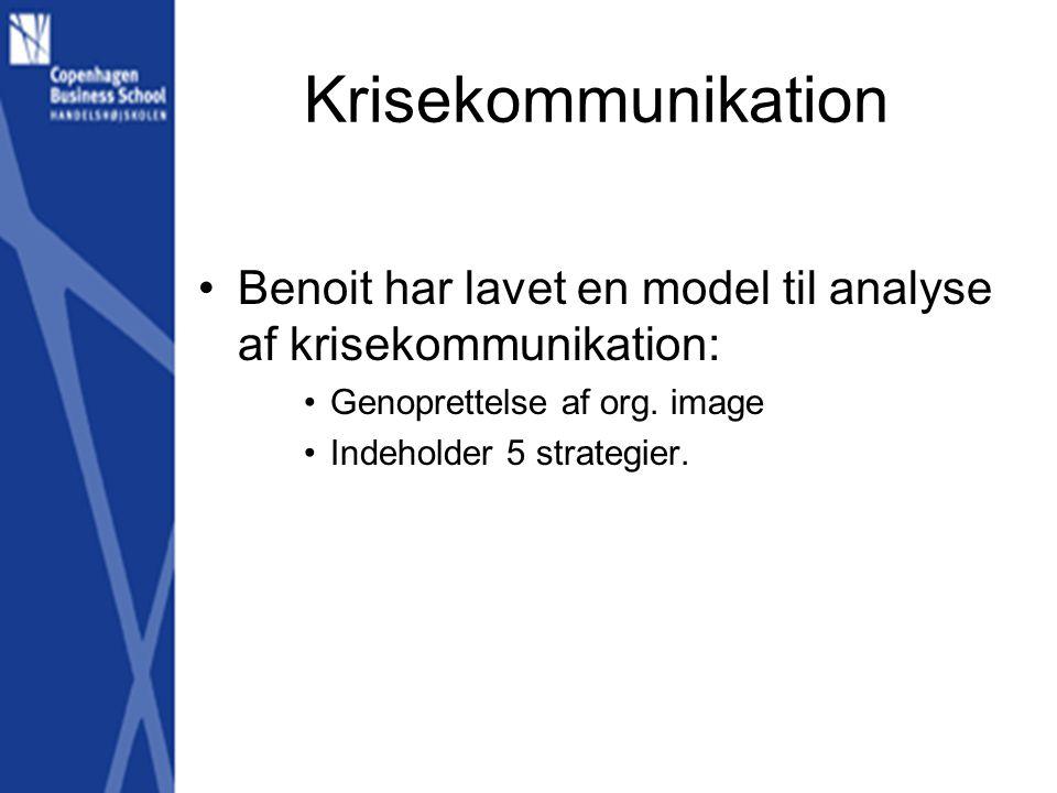 Krisekommunikation Benoit har lavet en model til analyse af krisekommunikation: Genoprettelse af org. image.