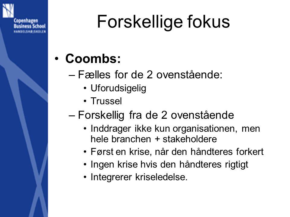 Forskellige fokus Coombs: Fælles for de 2 ovenstående: