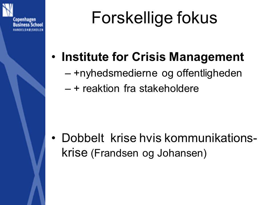 Forskellige fokus Institute for Crisis Management