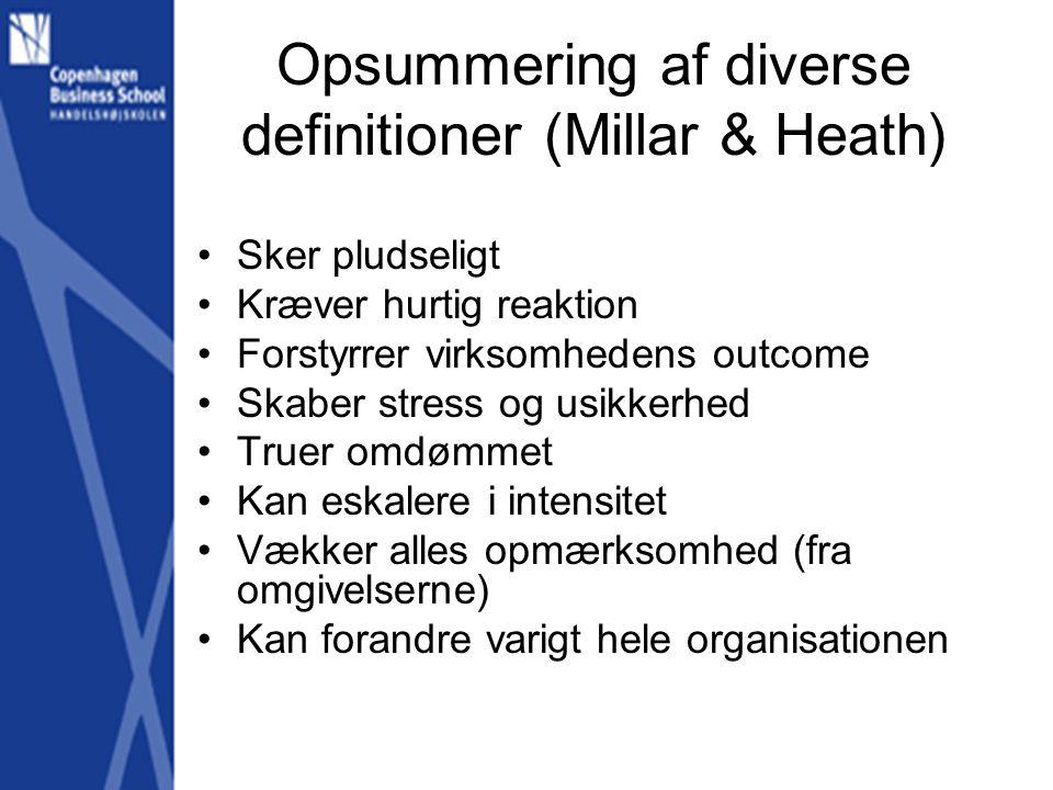 Opsummering af diverse definitioner (Millar & Heath)