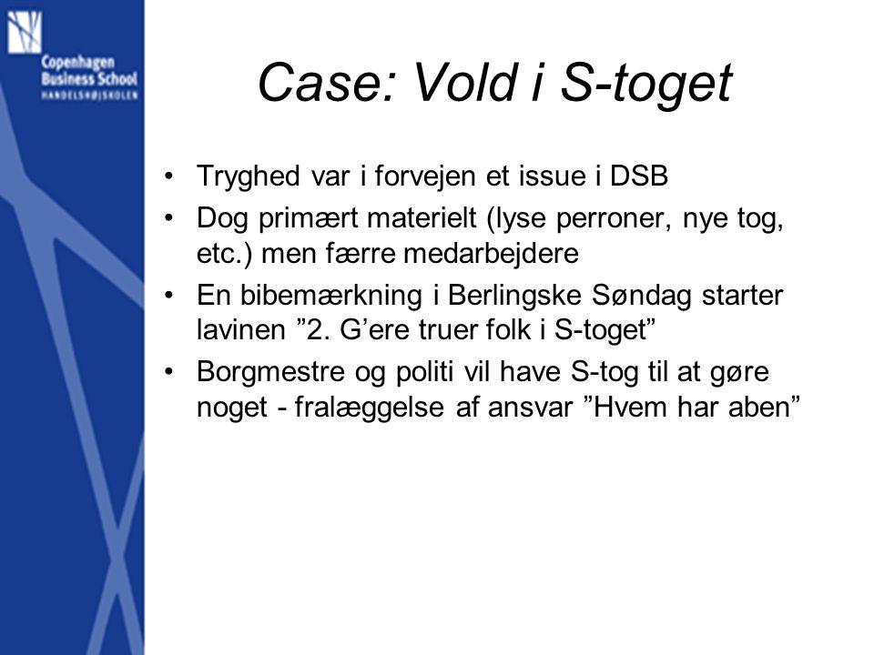 Case: Vold i S-toget Tryghed var i forvejen et issue i DSB