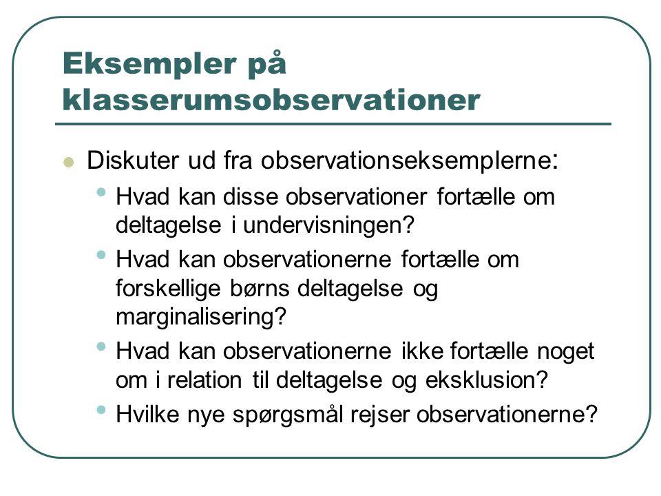 Eksempler på klasserumsobservationer