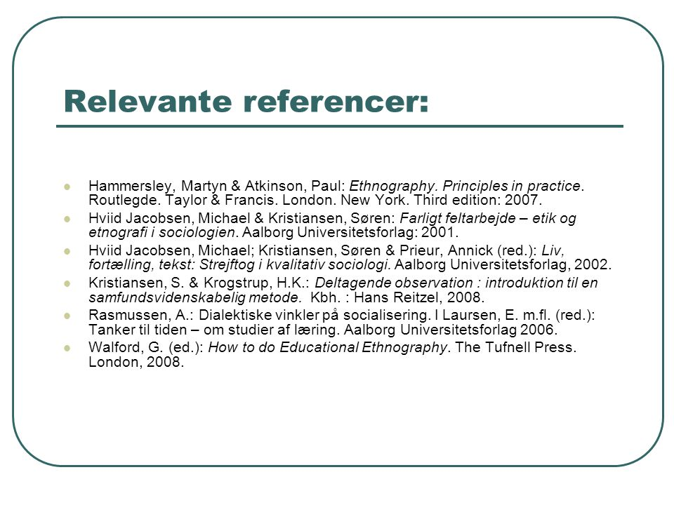 Relevante referencer: