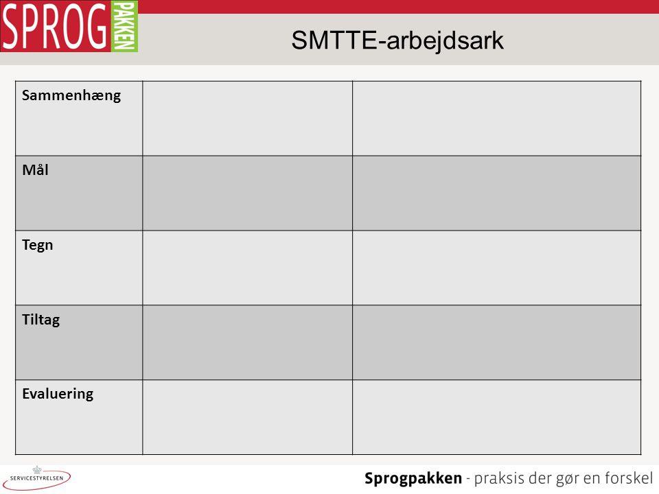 SMTTE-arbejdsark Sammenhæng Mål Tegn Tiltag Evaluering