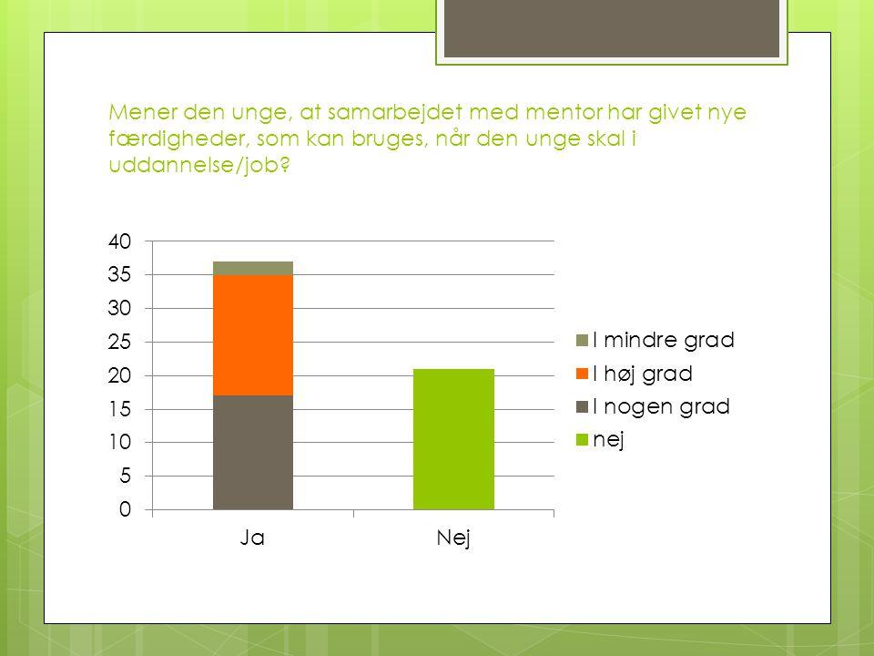 Mener den unge, at samarbejdet med mentor har givet nye færdigheder, som kan bruges, når den unge skal i uddannelse/job