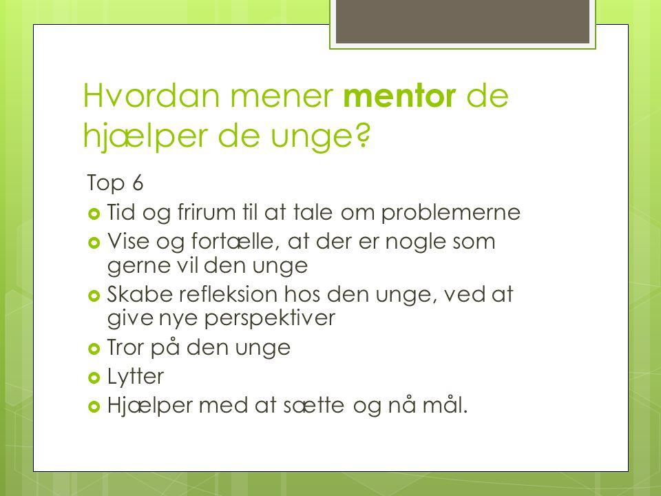 Hvordan mener mentor de hjælper de unge
