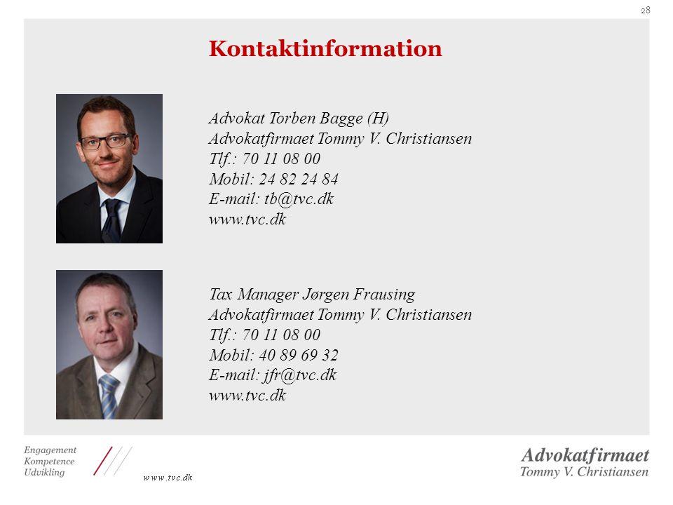 Kontaktinformation Advokat Torben Bagge (H)