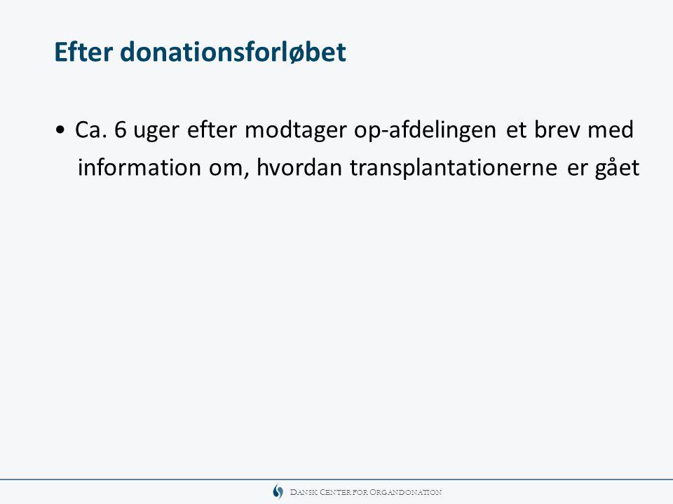 Efter donationsforløbet