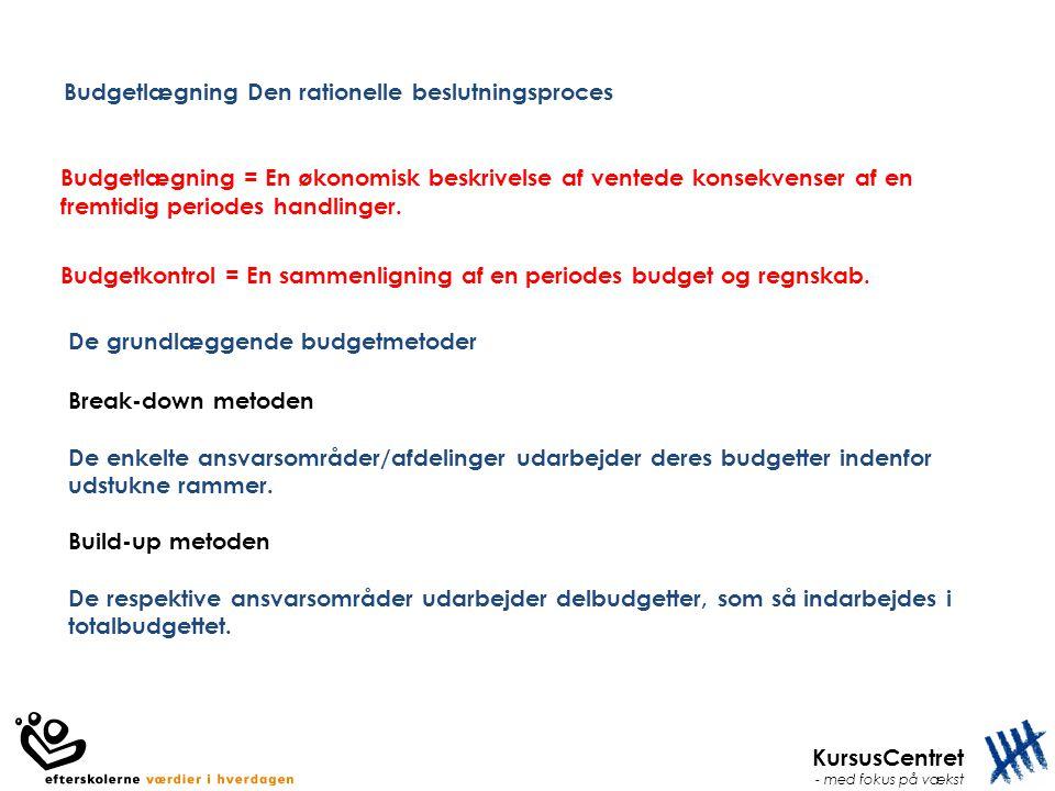 Budgetlægning Den rationelle beslutningsproces