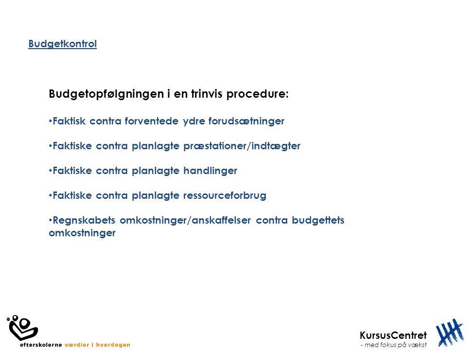 Budgetopfølgningen i en trinvis procedure: