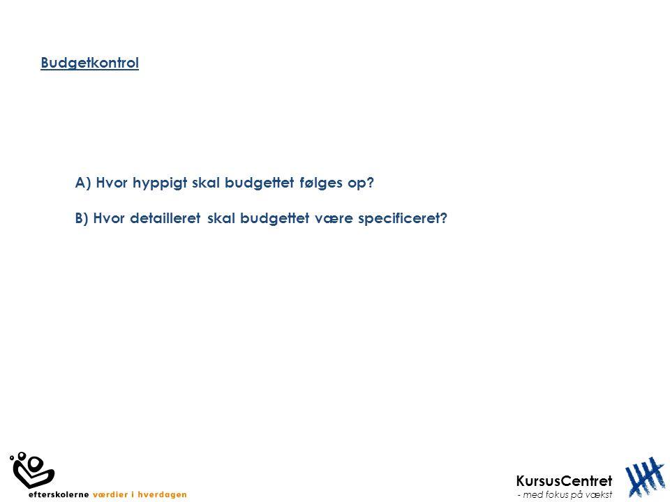Budgetkontrol A) Hvor hyppigt skal budgettet følges op.