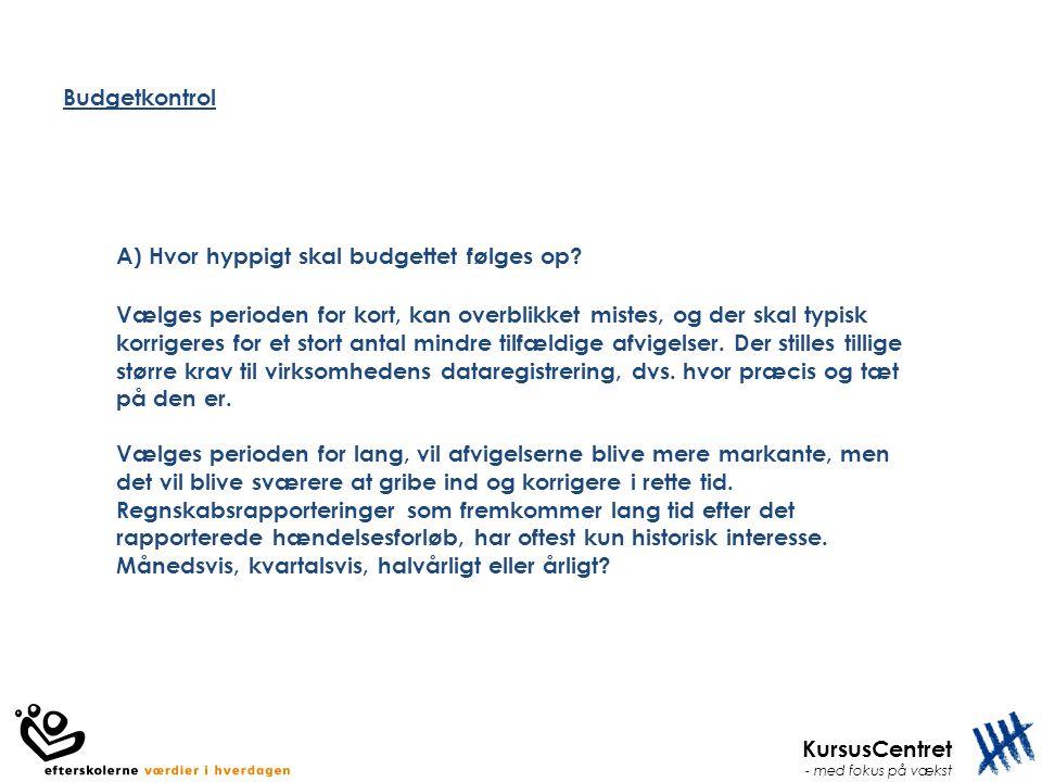 Budgetkontrol A) Hvor hyppigt skal budgettet følges op