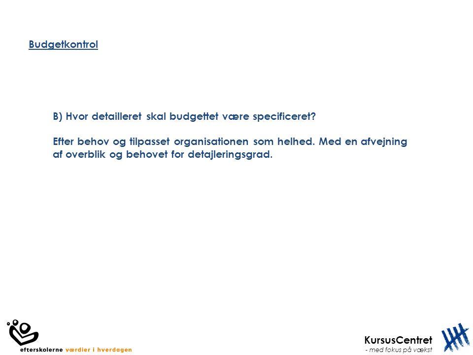 Budgetkontrol B) Hvor detailleret skal budgettet være specificeret