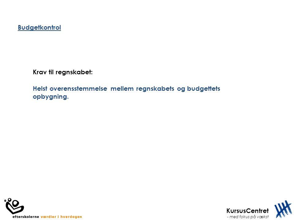 Budgetkontrol Krav til regnskabet: Helst overensstemmelse mellem regnskabets og budgettets opbygning.
