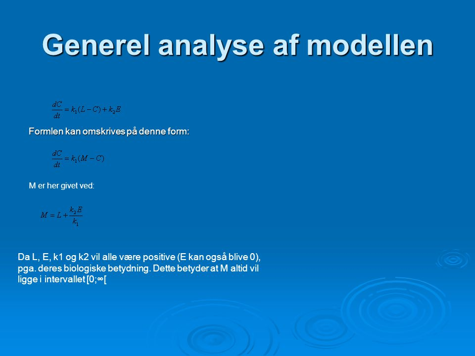 Generel analyse af modellen