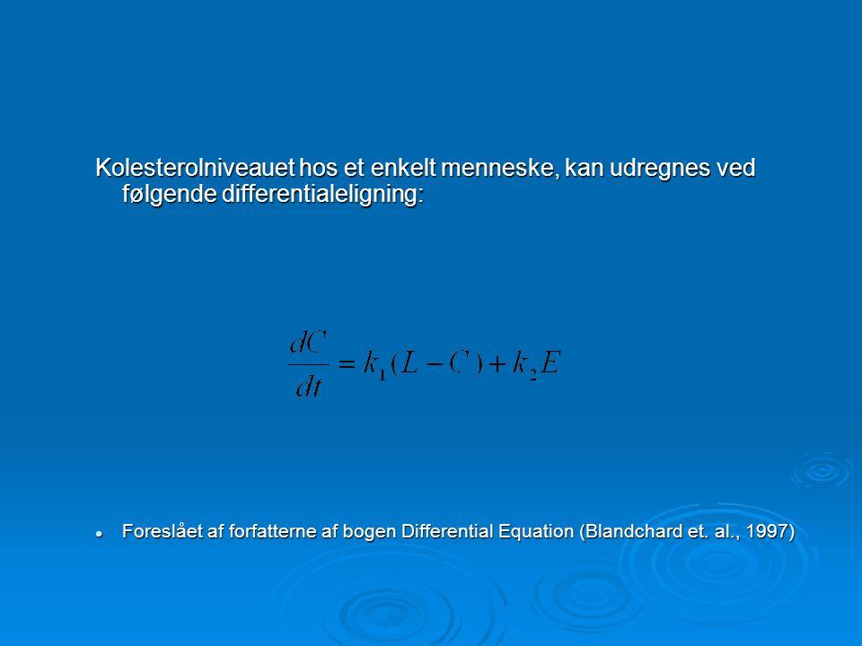 Kolesterolniveauet hos et enkelt menneske, kan udregnes ved følgende differentialeligning: