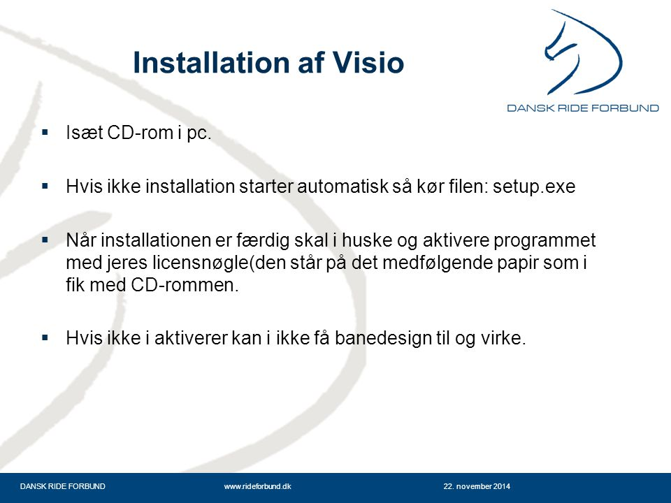 Installation af Visio Isæt CD-rom i pc.