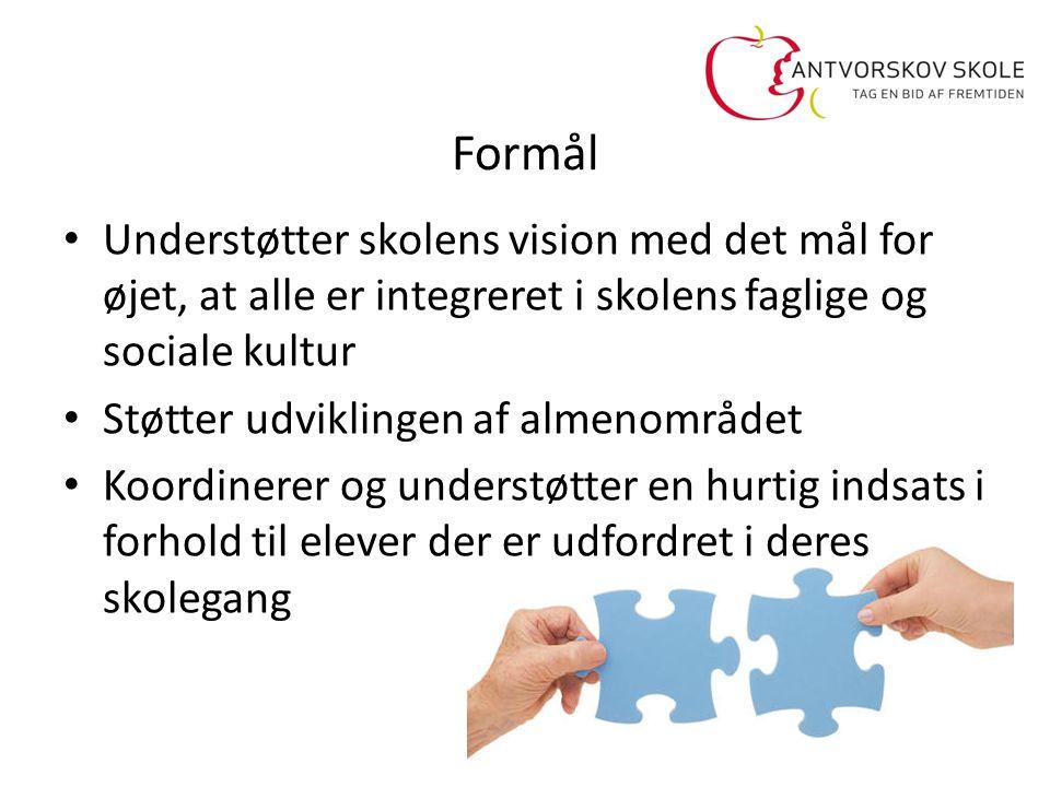 Formål Understøtter skolens vision med det mål for øjet, at alle er integreret i skolens faglige og sociale kultur.