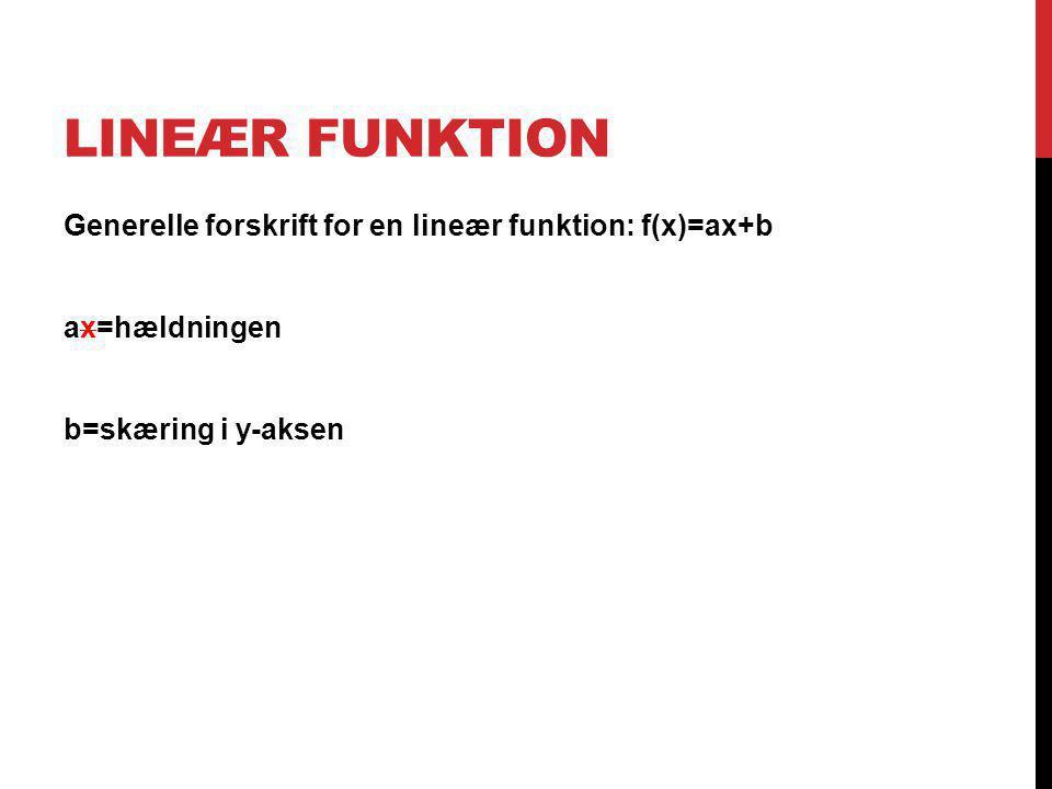 Lineær funktion Generelle forskrift for en lineær funktion: f(x)=ax+b ax=hældningen b=skæring i y-aksen
