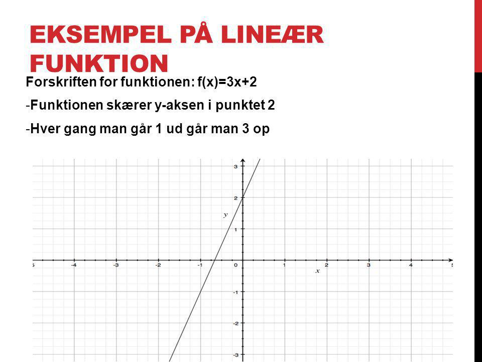 Eksempel på lineær funktion