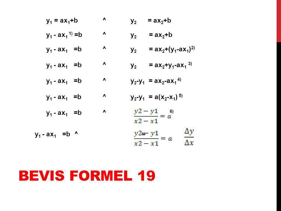 y1 = ax1+b ^ y2 = ax2+b y1 - ax1 1) =b ^ y2 = ax2+b y1 - ax1 =b ^ y2 = ax2+(y1-ax1)2) y1 - ax1 =b ^ y2 = ax2+y1-ax1 3) y1 - ax1 =b ^ y2-y1 = ax2-ax1 4) y1 - ax1 =b ^ y2-y1 = a(x2-x1) 5) y1 - ax1 =b ^ 6) y1 - ax1 =b ^ =