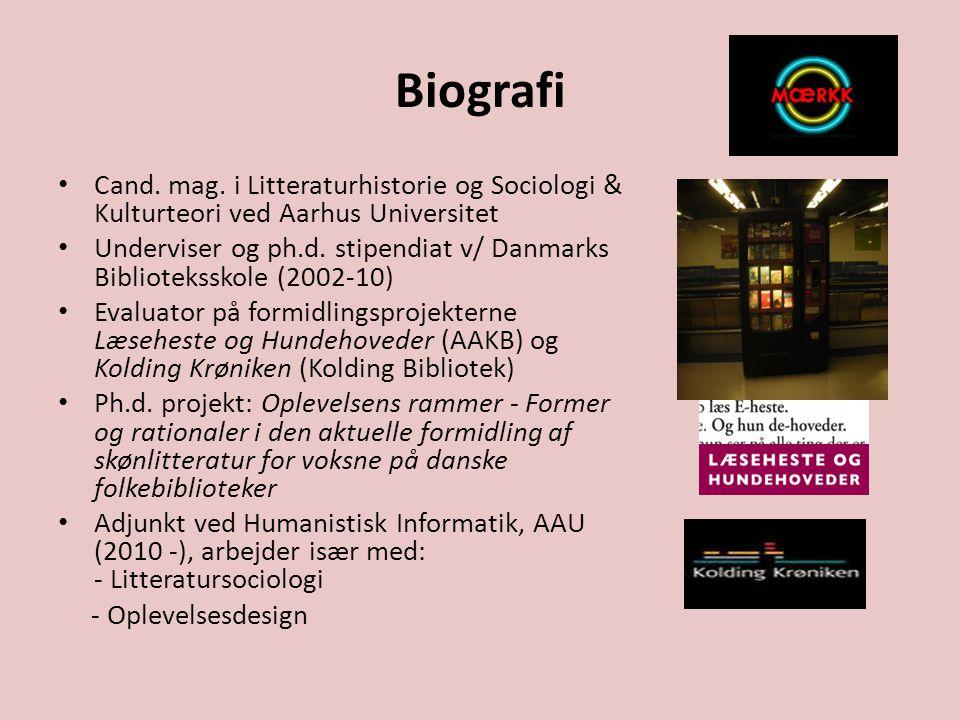 Biografi Cand. mag. i Litteraturhistorie og Sociologi & Kulturteori ved Aarhus Universitet.