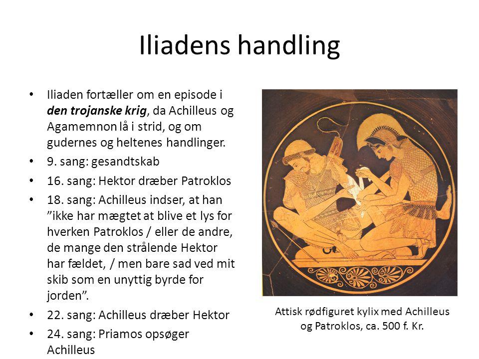 Attisk rødfiguret kylix med Achilleus og Patroklos, ca. 500 f. Kr.