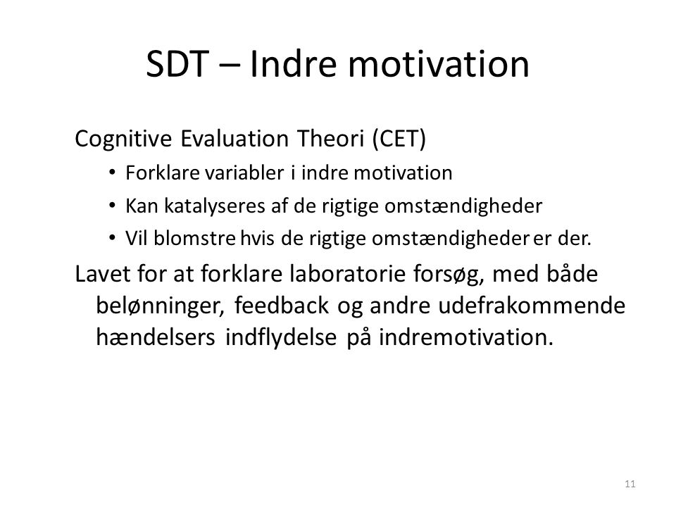 SDT – Indre motivation Cognitive Evaluation Theori (CET)