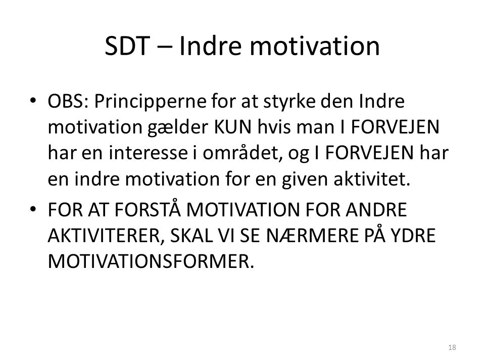 SDT – Indre motivation