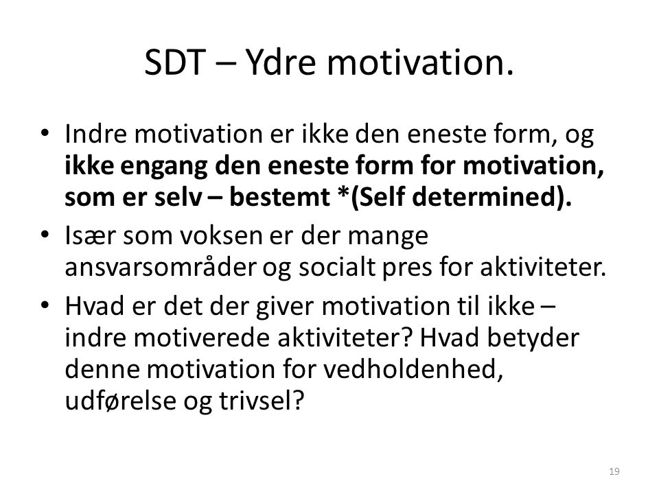 SDT – Ydre motivation.