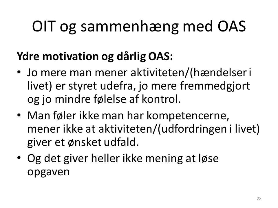 OIT og sammenhæng med OAS