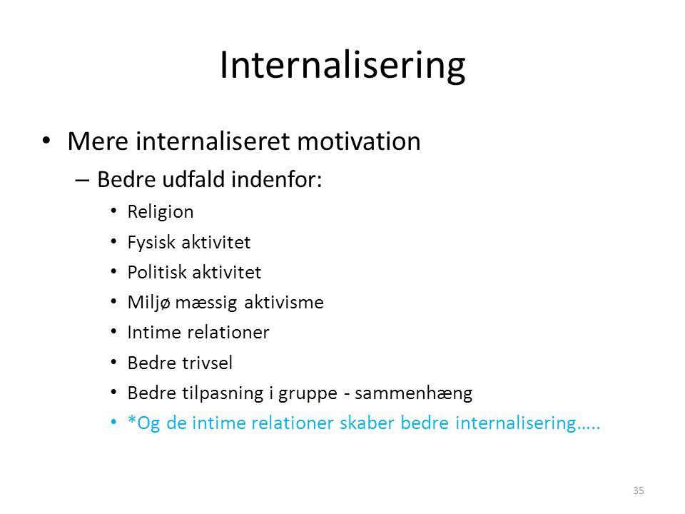 Internalisering Mere internaliseret motivation Bedre udfald indenfor: