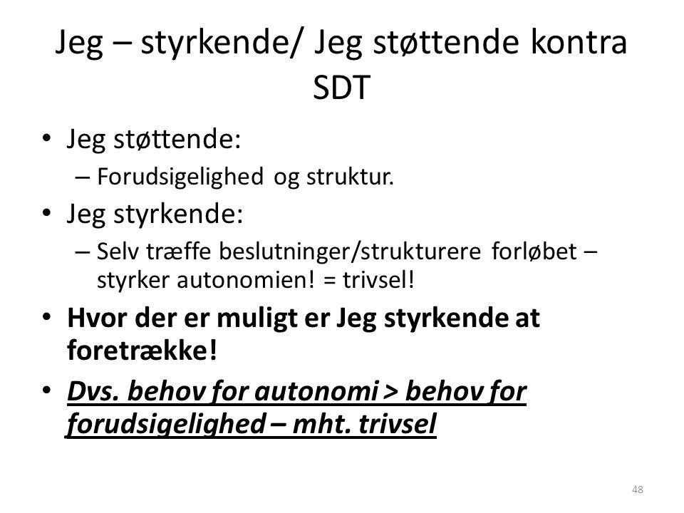 Jeg – styrkende/ Jeg støttende kontra SDT