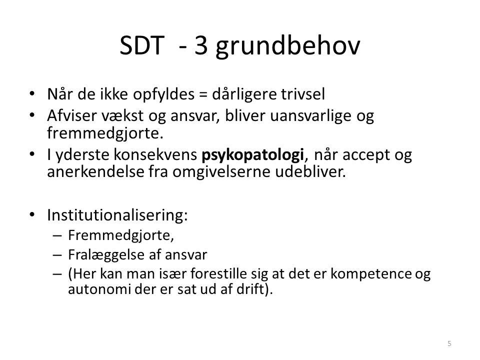 SDT - 3 grundbehov Når de ikke opfyldes = dårligere trivsel