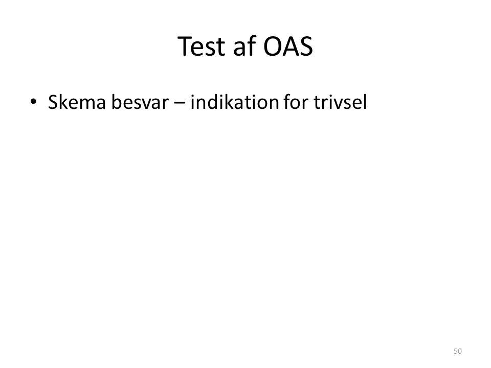 Test af OAS Skema besvar – indikation for trivsel