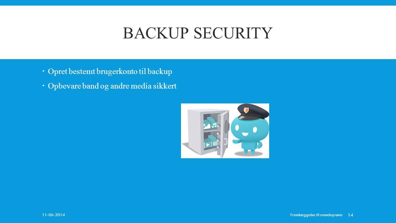 BACKUP SECURITY Opret bestemt brugerkonto til backup
