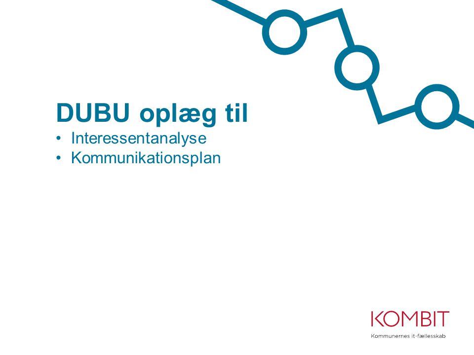 DUBU oplæg til Interessentanalyse Kommunikationsplan