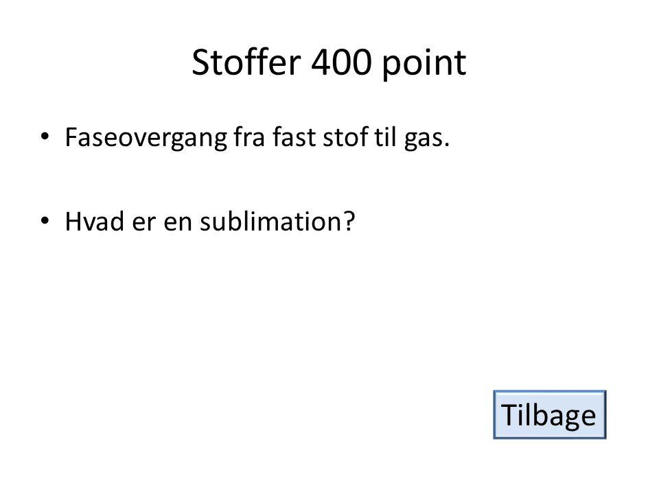 Stoffer 400 point Tilbage Faseovergang fra fast stof til gas.