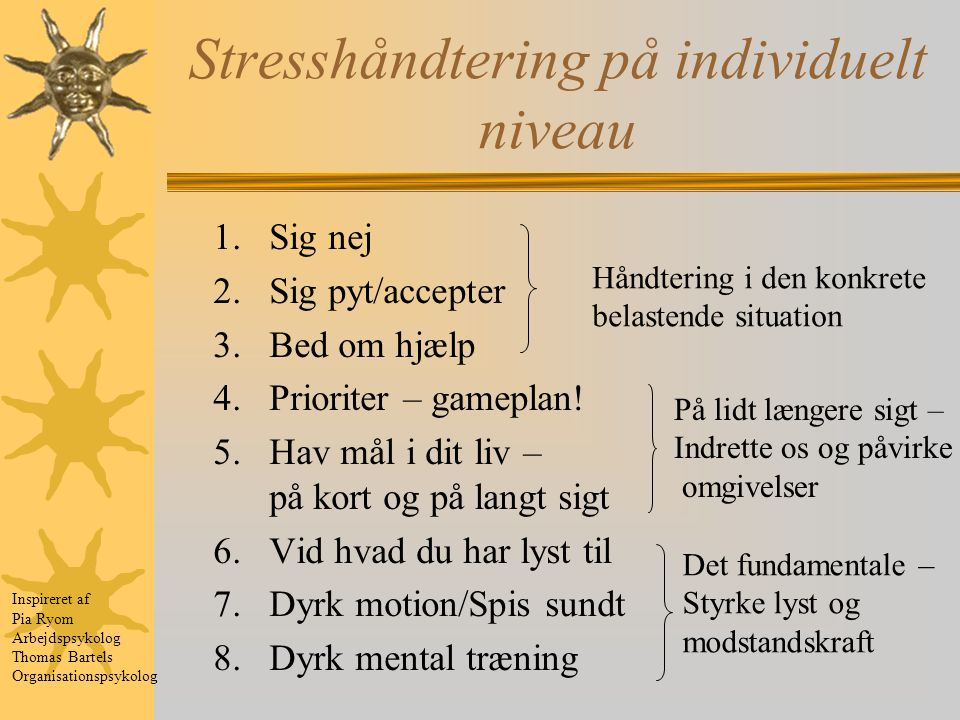 Stresshåndtering på individuelt niveau
