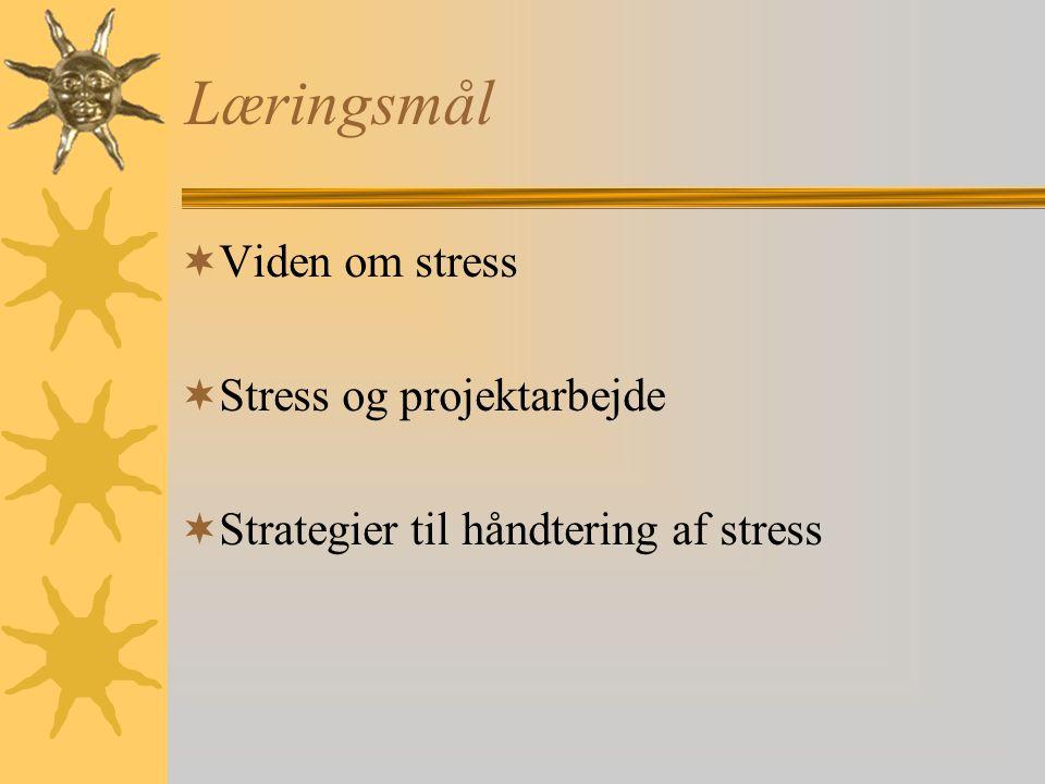 Læringsmål Viden om stress Stress og projektarbejde