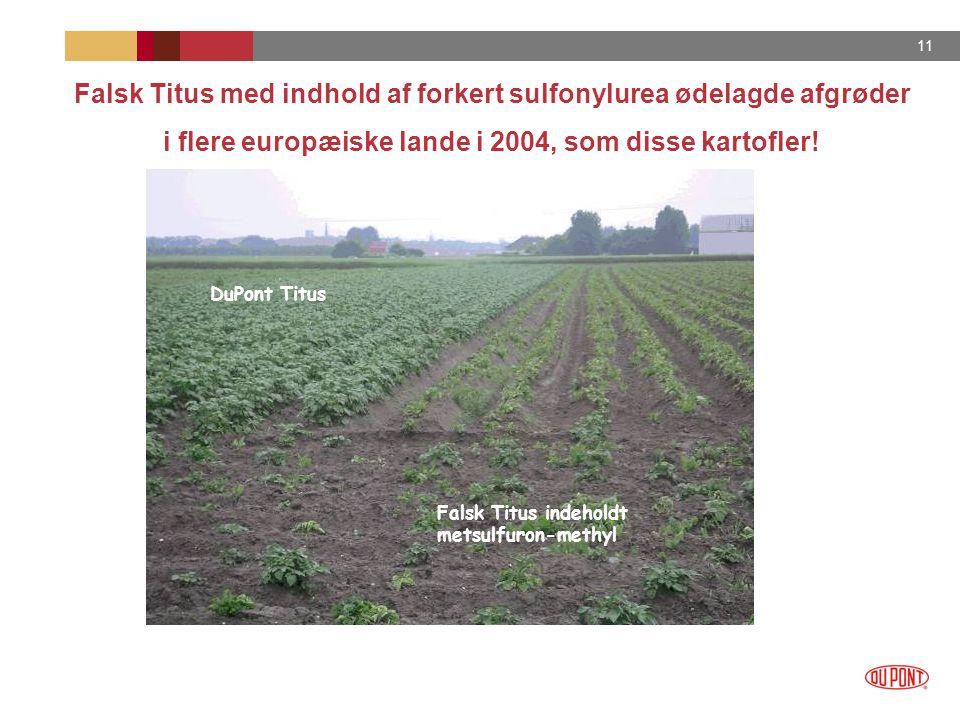 Falsk Titus med indhold af forkert sulfonylurea ødelagde afgrøder