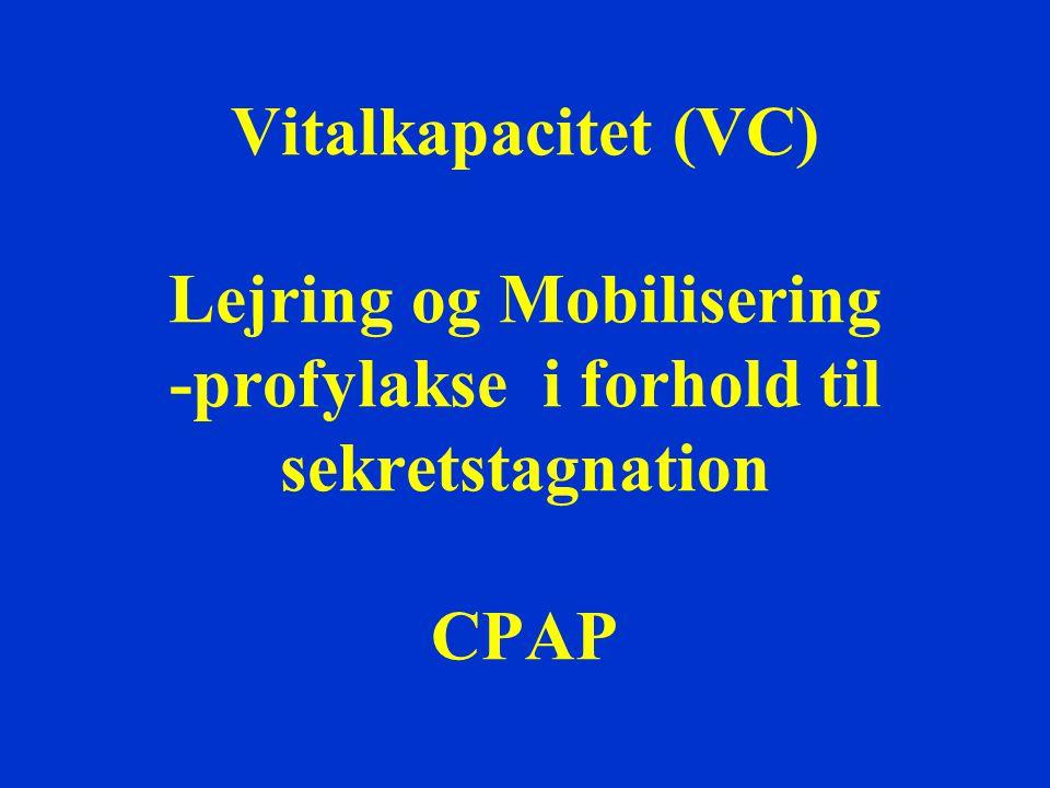 Vitalkapacitet (VC) Lejring og Mobilisering -profylakse i forhold til sekretstagnation CPAP