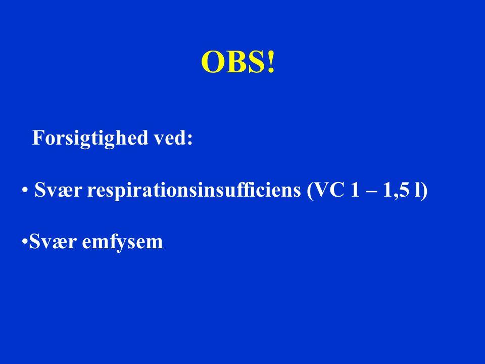 OBS! Forsigtighed ved: Svær respirationsinsufficiens (VC 1 – 1,5 l)
