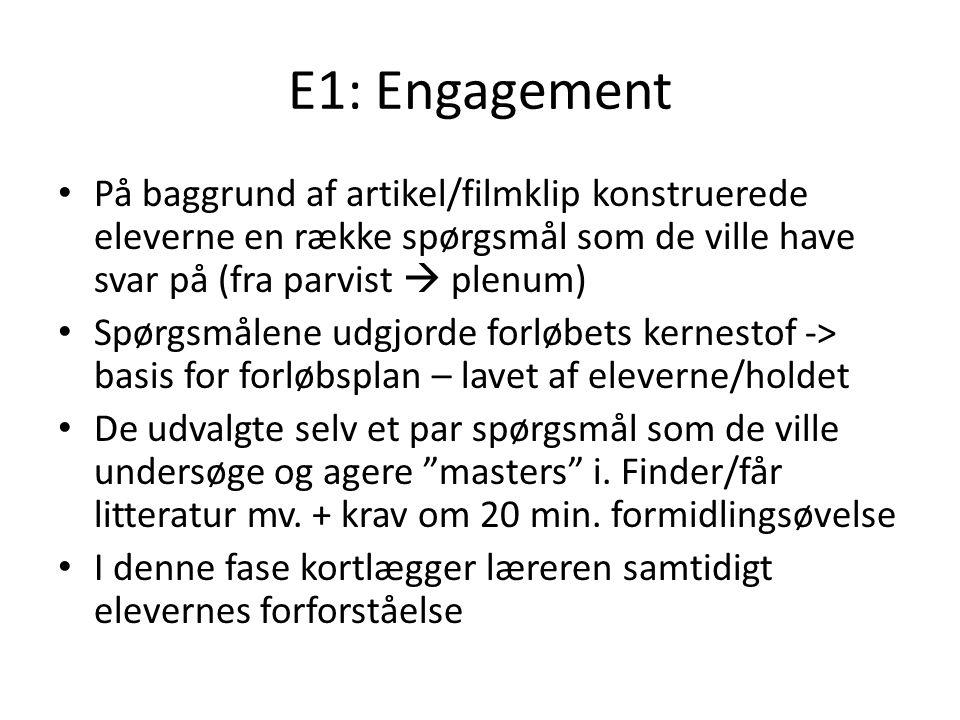 E1: Engagement På baggrund af artikel/filmklip konstruerede eleverne en række spørgsmål som de ville have svar på (fra parvist  plenum)